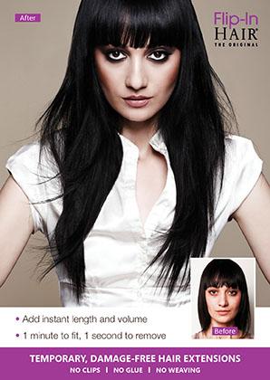 Flip-In Hair - The Original wired hair extension Flip-In Hair